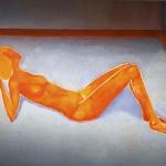 Donna su pavimento azzurro- 130x195cm- 2003