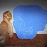 Donna e mazzo di fiori -120x140cm - 1999